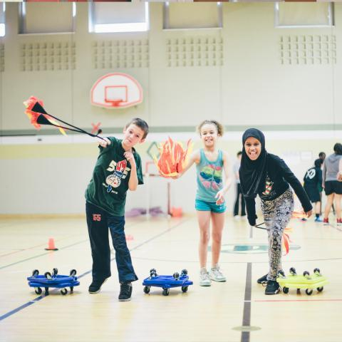 Students playing in the gym